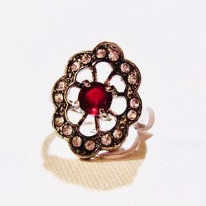 Size 8.75 red and white stone silver tone ring